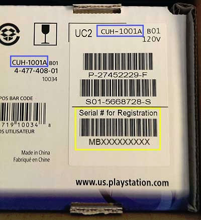 Location of model and serial number on a PS4 box