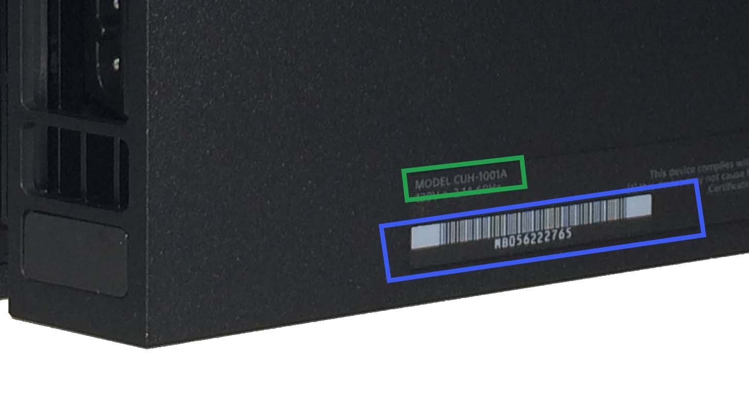 model and serial number locations on a PS4 system