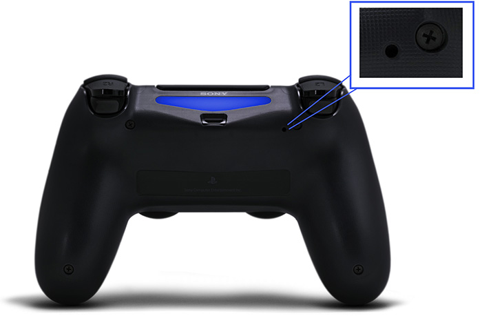 Image highlighting location of the dualshock 4 reset button